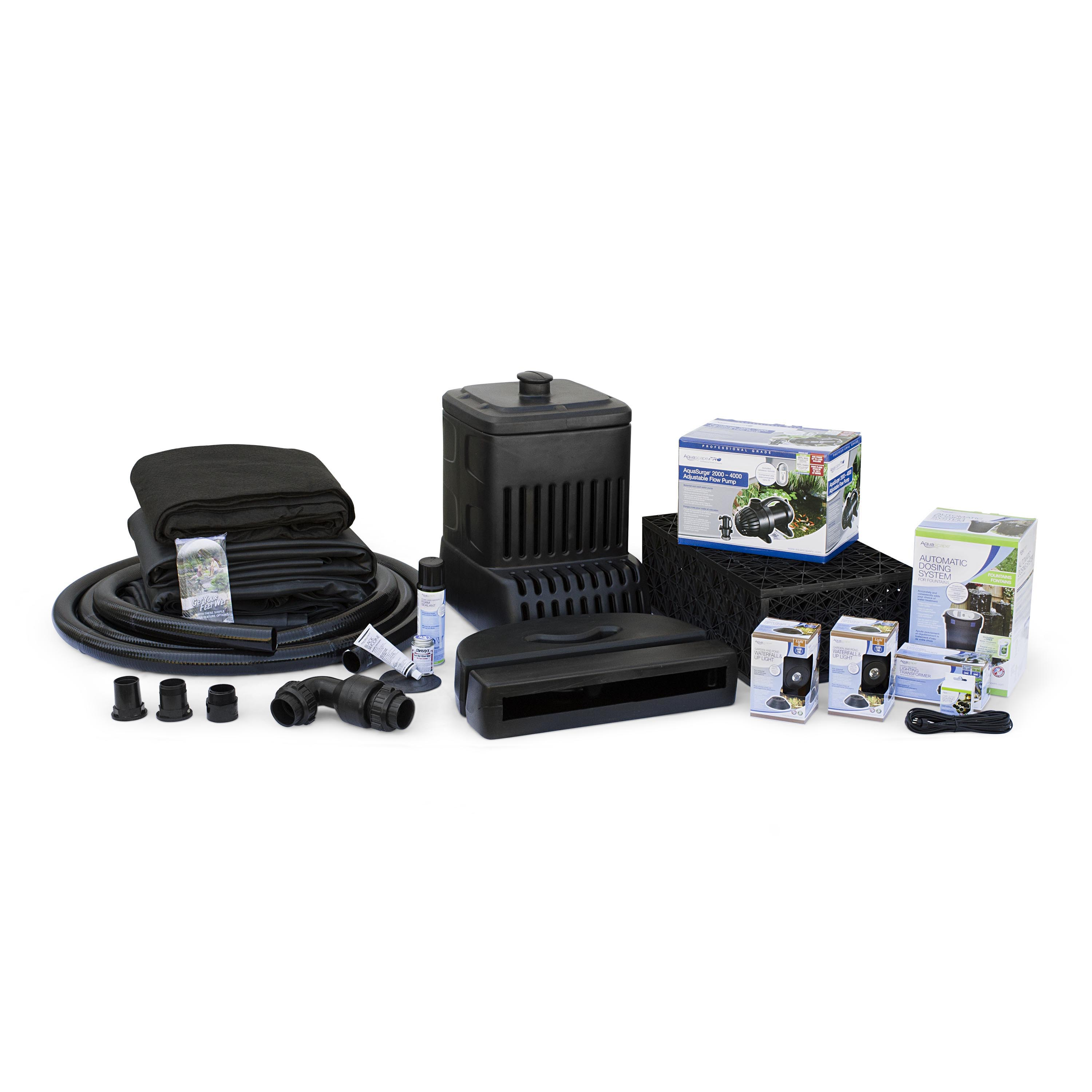 Medium Pondless Waterfall Kit 16' Stream with AquaSurge 2000-4000 Pond Pump