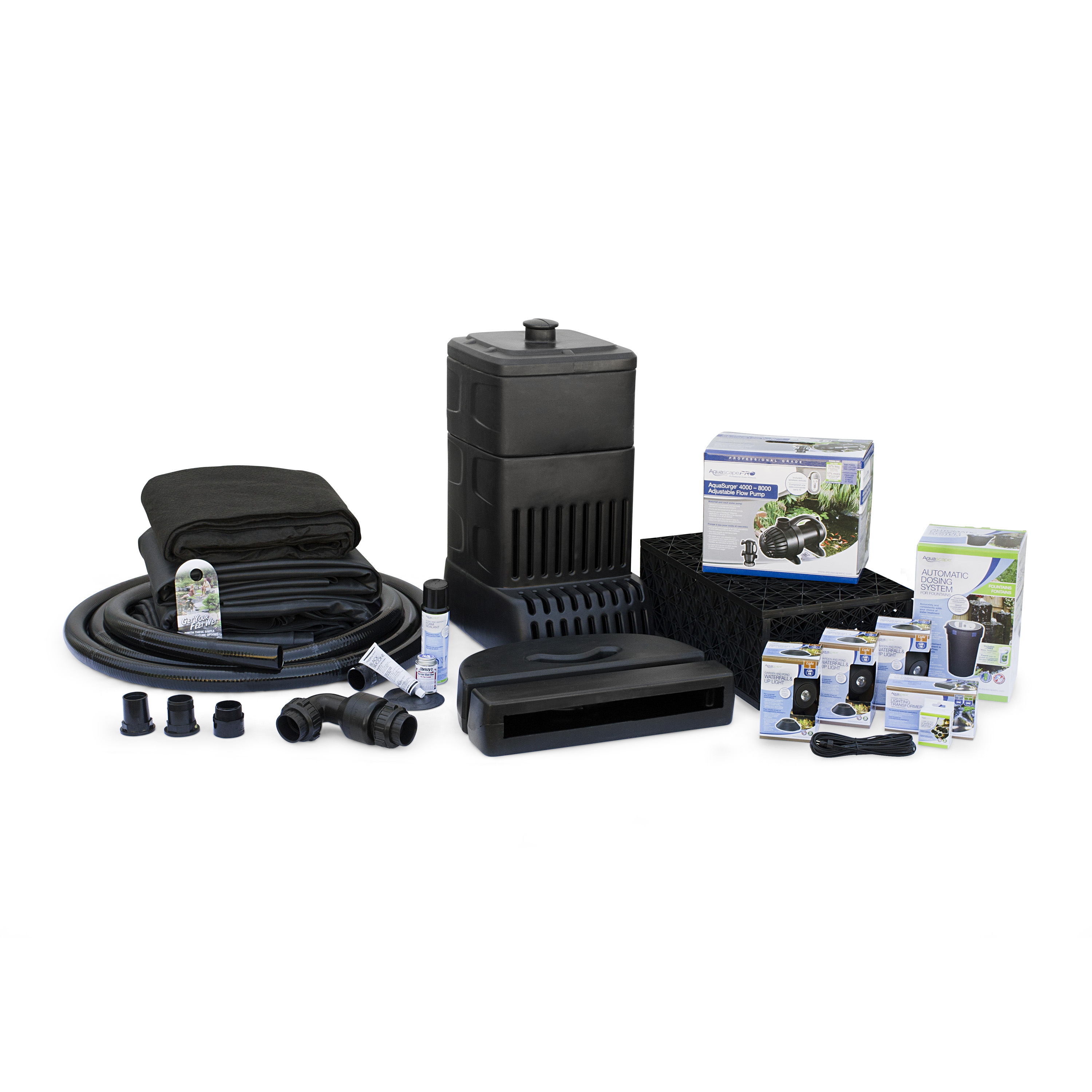 Large Pondless Waterfall Kit 26' Stream with AquaSurge 4000-8000 Pond Pump